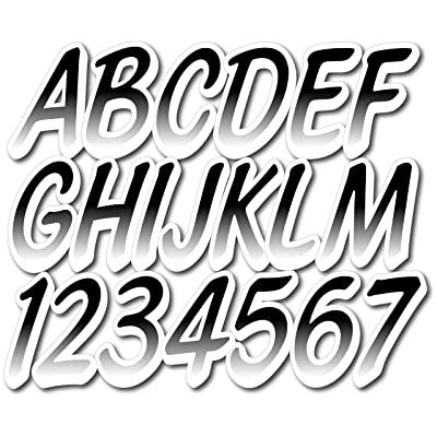 """Stiffie Whipline Black/White 3"""" Alpha-Numeric Registration Identification Numbers Stickers Decals for Boats & Personal Watercraft: Automotive"""