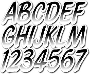 Stiffie Whipline Black//White 3 Alpha-Numeric Registration Identification Numbers Stickers Decals Boats /& Personal Watercraft