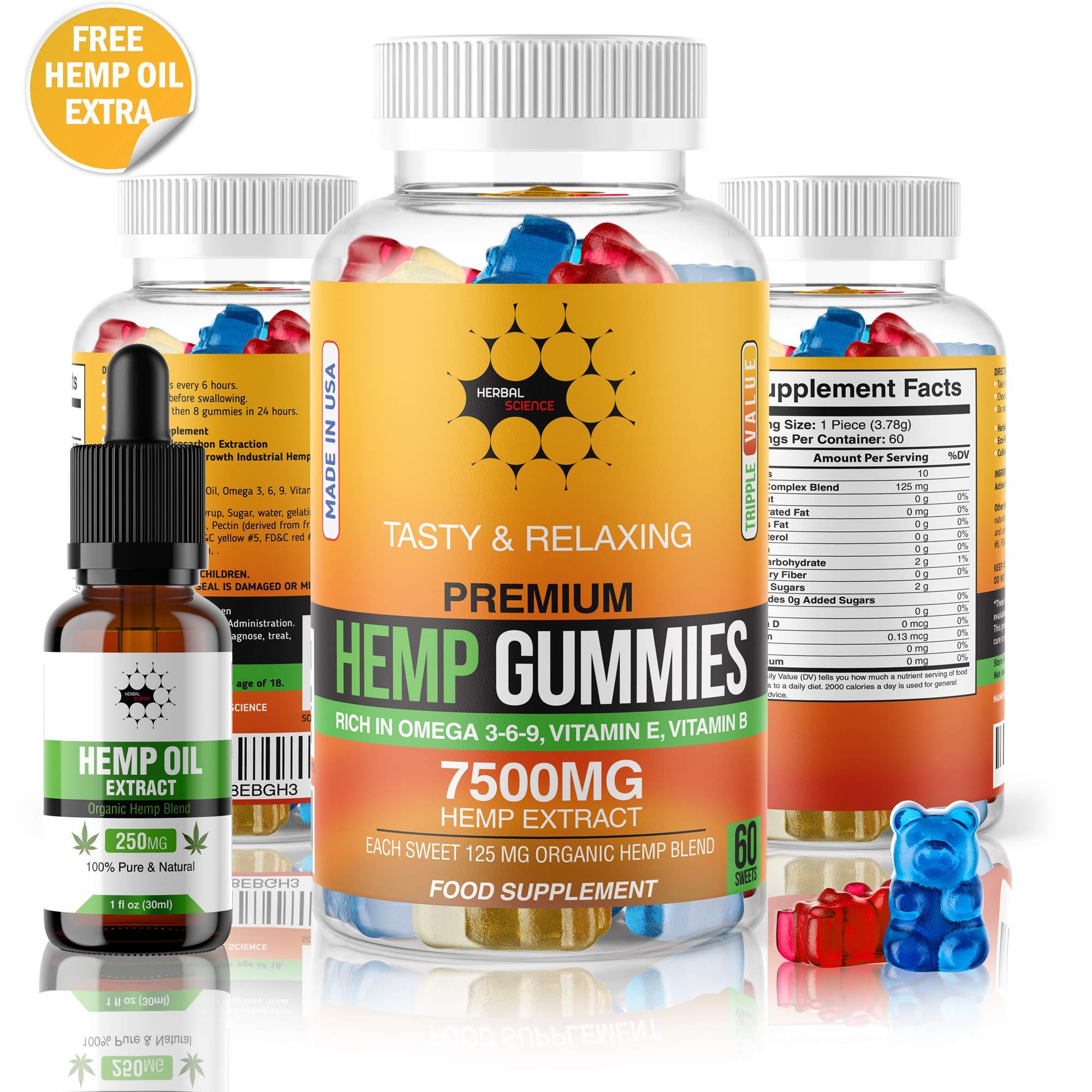 Herbal Science Premium Hemp Gummies: 7500mg Natural Hemp Extract Candy Supplement for Pain, Anxiety, Sleep, Stress, Memory, Mood - 60 Fruity Gummy Bears and 250mg Hemp Oil Extract Drops