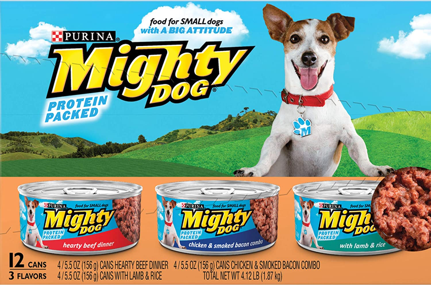 Purina Mighty Dog Ground Wet Dog Food Variety Pack - (2 Packs of 12) 5.5 oz. Cans