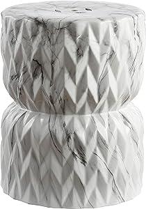 "Jonathan Y TBL1021A Chevron Drum 17.5"" White Marble Finish Ceramic Garden Stool"