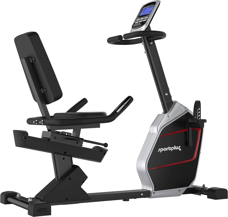 portPlus SP-RB-9900-iE Bicicleta Estática con Aplicación para Smartphone - 9 kg de Masa de Volante de Inercia, 24 Niveles de Resistencia - Peso Máx. 150 kg