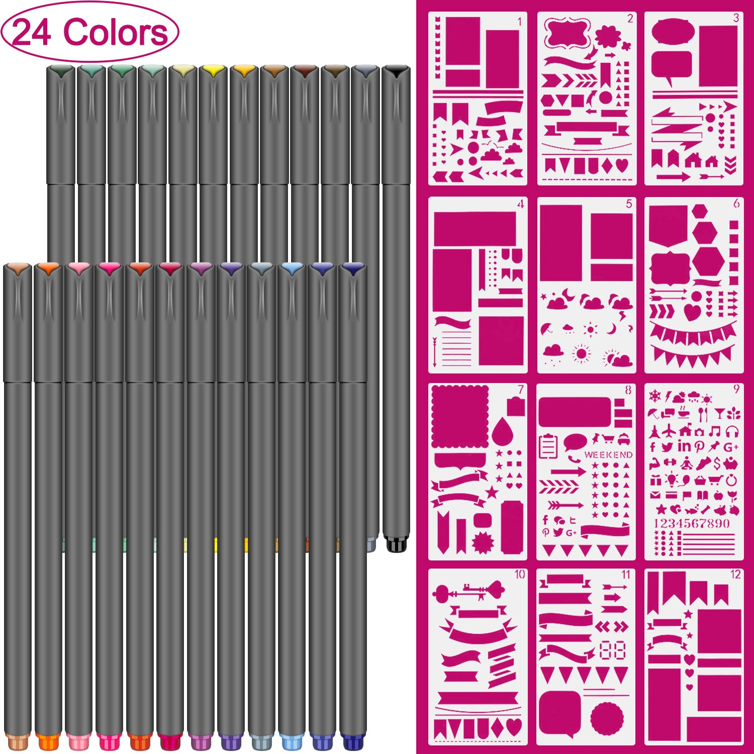 Bullet Journal Supplies, 24 Color fineliner pens and 12 Pieces Notebook Diary Scrapbook Templates Plastic Planner Kit