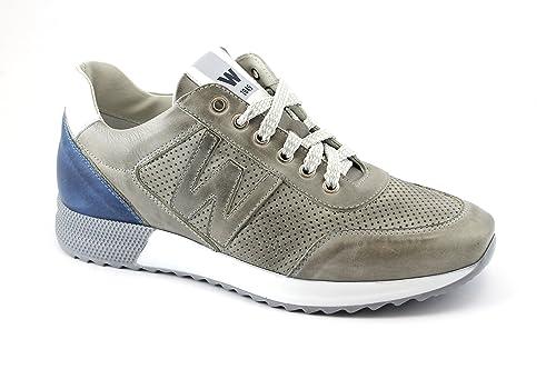 MELLUSO U16200 Zapatillas de Deporte Grises de Cuero Hombre Cordones de Zapatos de ostras 45: Amazon.es: Zapatos y complementos