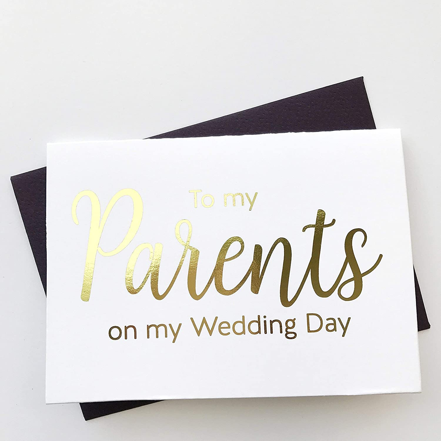 WC045-CL-F Gold Foil Thank you Card Silver Foiled Wedding Day Cards Gold Foiled To Our Parents On My Wedding Day Cards