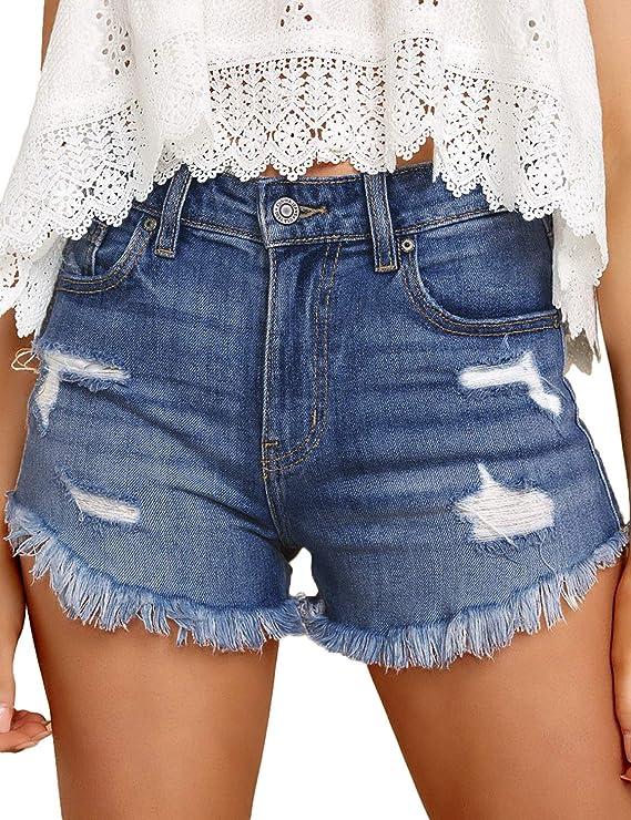 Roskiky Womens Casual Ripped Denim Overalls Dungaree Shorts Pockets Raw Hem Summer Playsuits