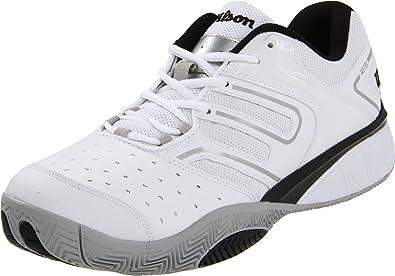 c59739b18409a Wilson Men's Tour Construkt Tennis Shoe, White/Silver/Black, 13 M US ...