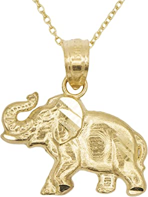Ice on Fire Jewelry 10k Yellow Gold Lucky Charm Elephant Animal Pendant Necklace with Polished Finish