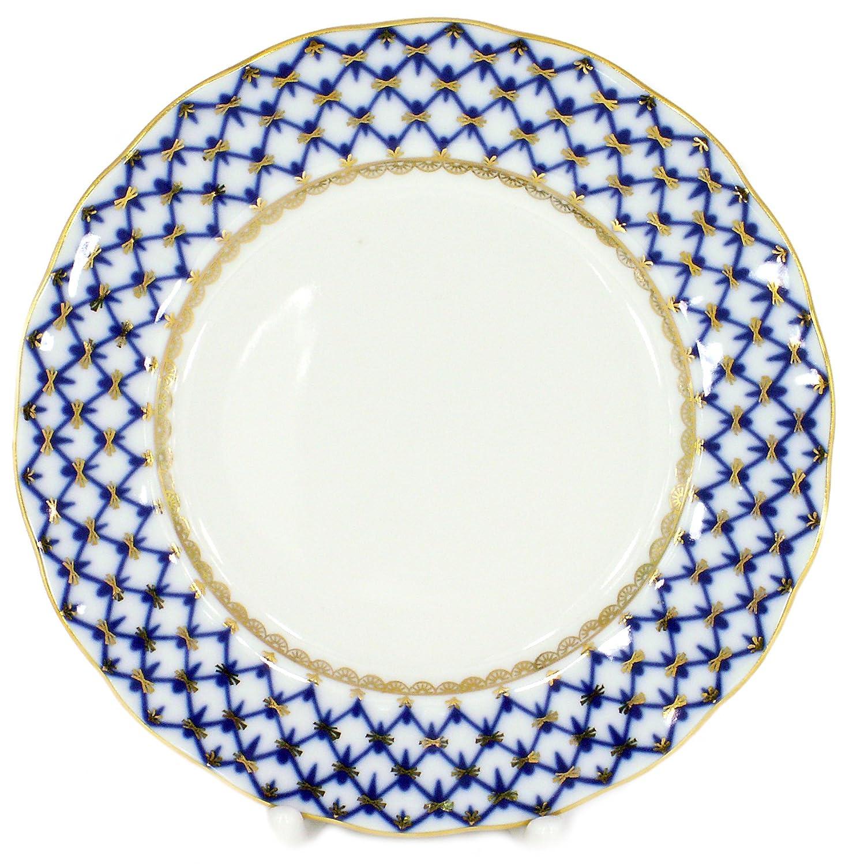 Lomonosov Porcelain Cake Dessert Plate Cobalt Net Plate 7 Inches Diameter Lomonosov Russia