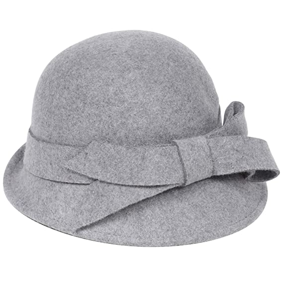 03504a306526be Coucoland 1920s Cloche Hats for Women Ladies Cloche Bowler Hat Classic 1920s  Vintage Wool Felt Cloche Bucket Bowler Lady Hat Gray: Amazon.co.uk: Clothing