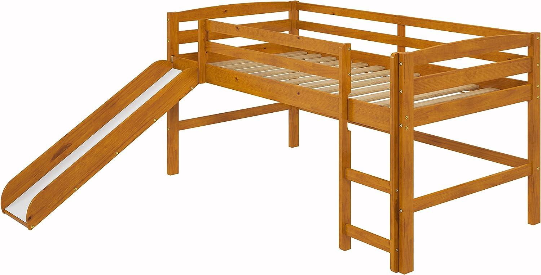 Woodcrest Mini Slide Loft Bed, Twin, Honey