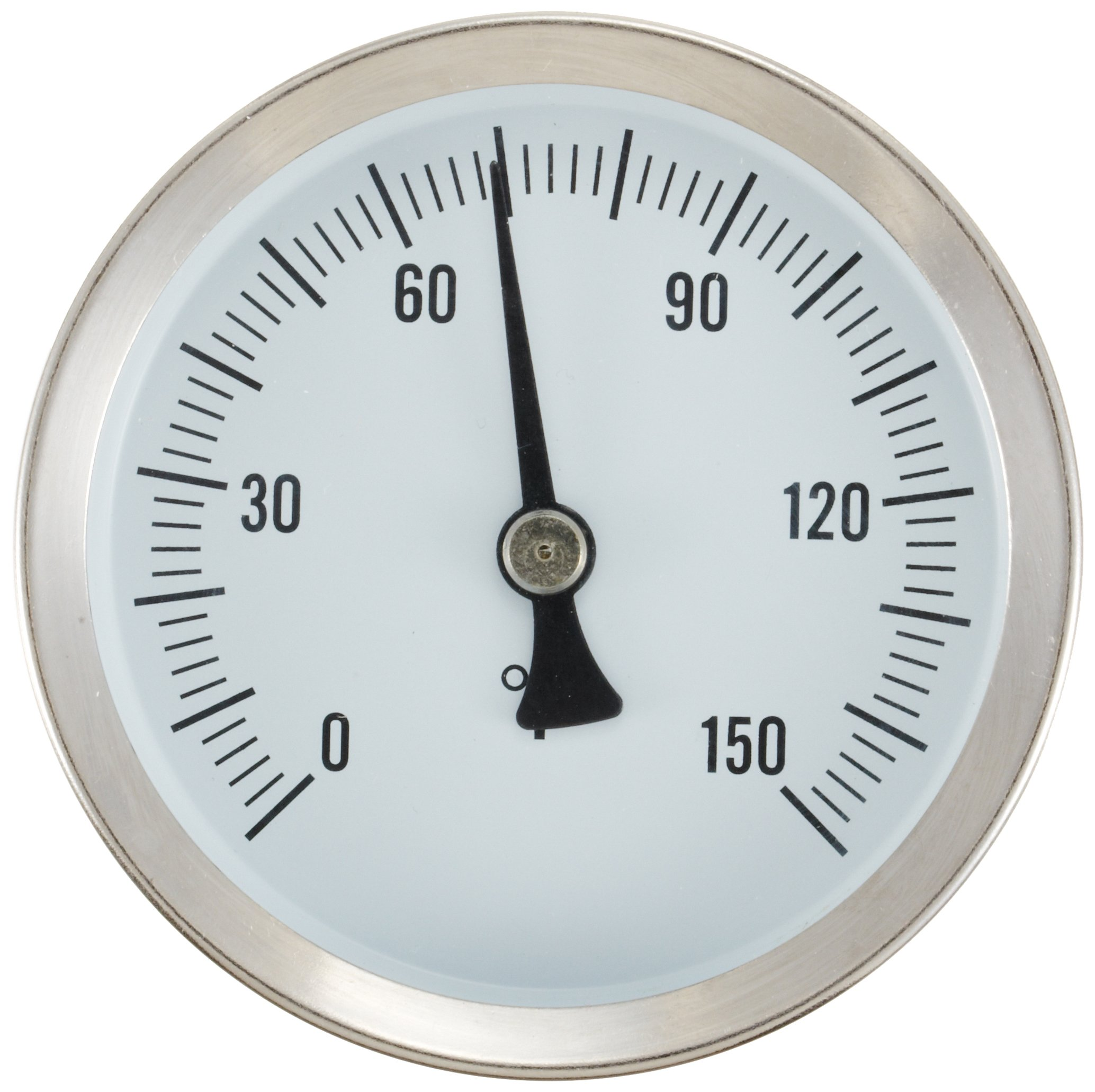PIC Gauge B2SS-E 2.5'' Dial Size, 0/150°F, Surface Mount, Straight, Lower Mount Connection, Stainless Steel Case, 316 Stainless Steel Stem Bimetal Thermometer