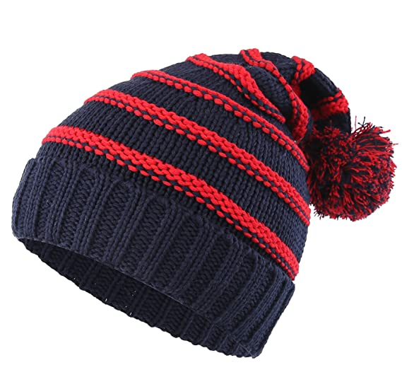 ea21677a9c7 Connectyle Toddler Girls Boys Kids Stripe Knit Beanie Cap with Pom Fleece  Lined Winter Hats Navy