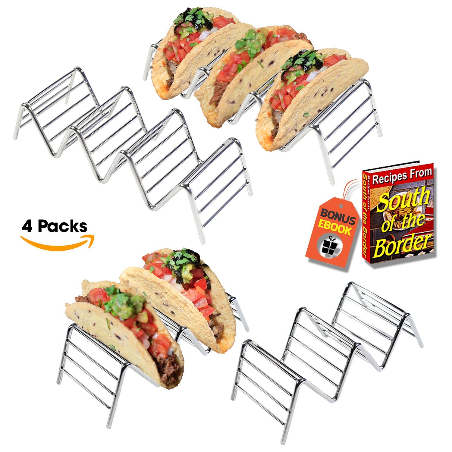 Premium Quality Stainless Steel Taco Holder Stand - Taco Rack - Taco Truck Tray Hold Up To 14 Soft or Hard Taco Shells - Dishwasher, Oven Safe For Baking or Reheating - Set of 4 Packs + BONUS eBook