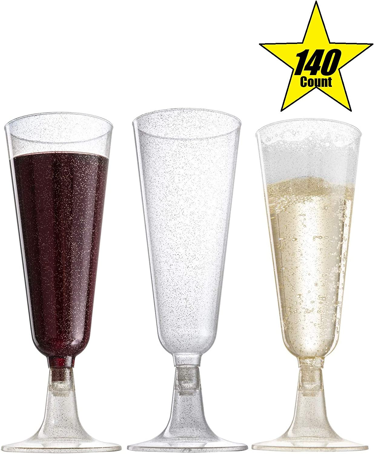 140 pc Plastic Classicware Glass Like Champagne Wedding Parties Toasting Flutes Party Cocktail Cups (Gold Glitter)