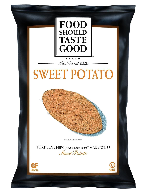 FoodShouldTasteGood Sweet Potato Tortilla Chips, 5.5-Ounce Bags (Pack of 12)