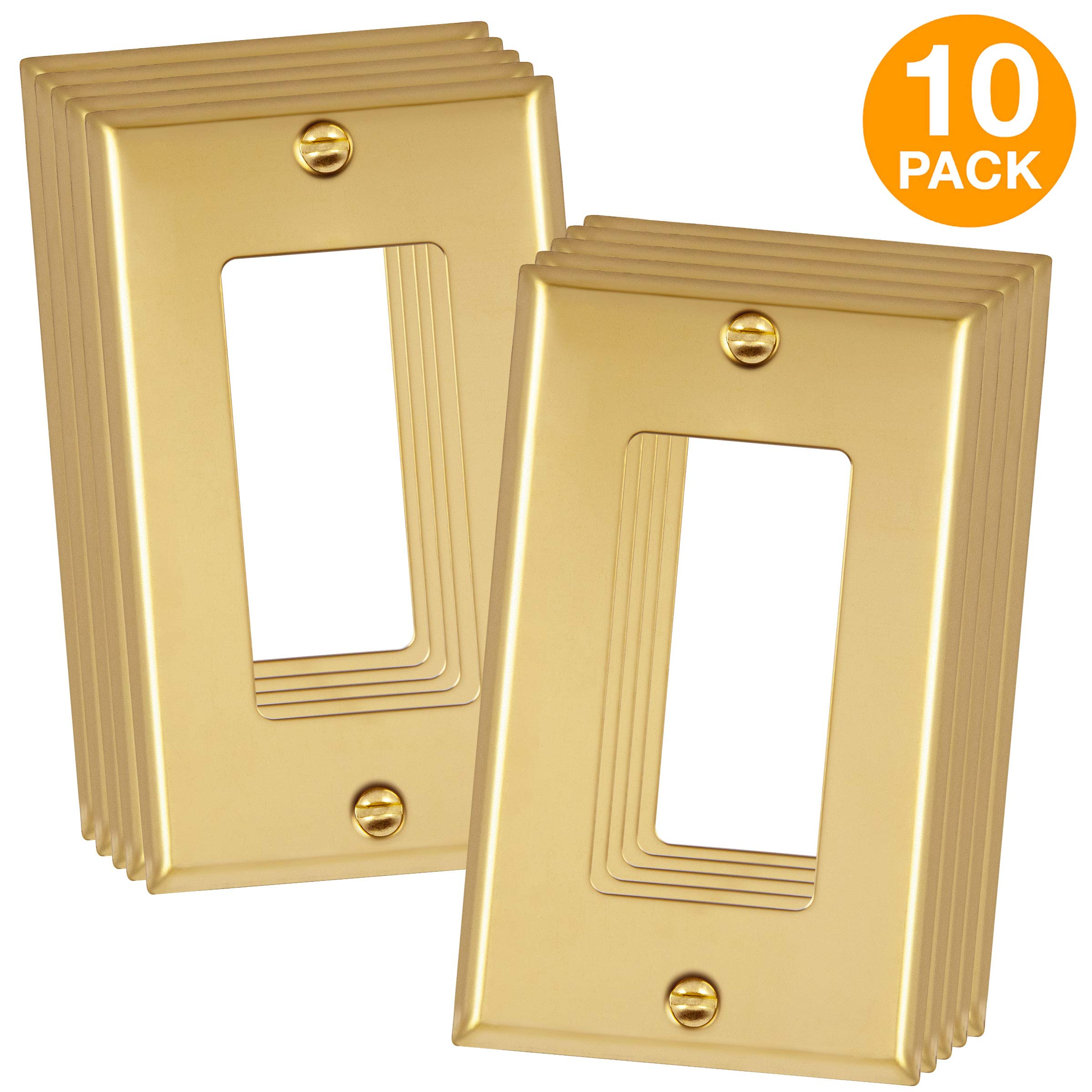 ENERLITES Metal Decorator Switch/Outlet Wall Plate, Corrosive Resistant, Size 1-Gang 4.50'' x 2.76'', 7731-PB-10PCS, 302 Polished Brass (10 Pack)