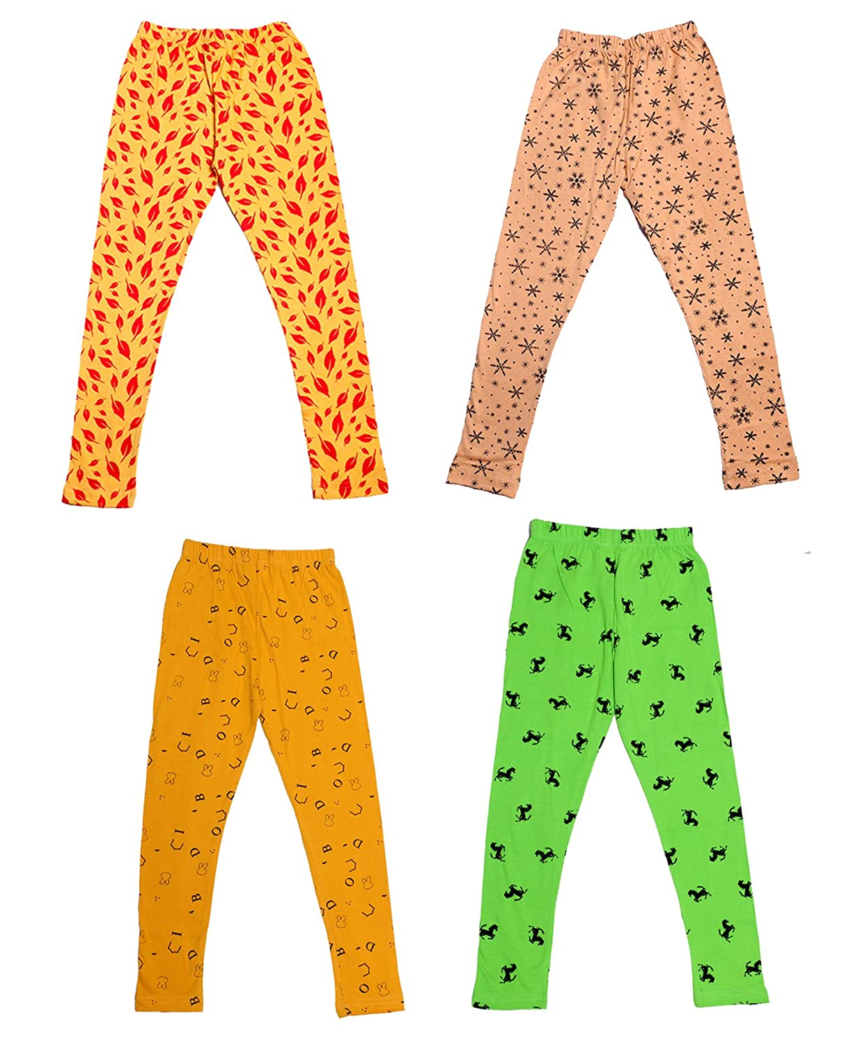 Indistar Girls Super Soft and Stylish Cotton Printed Churidar Legging(Pack Of 4)