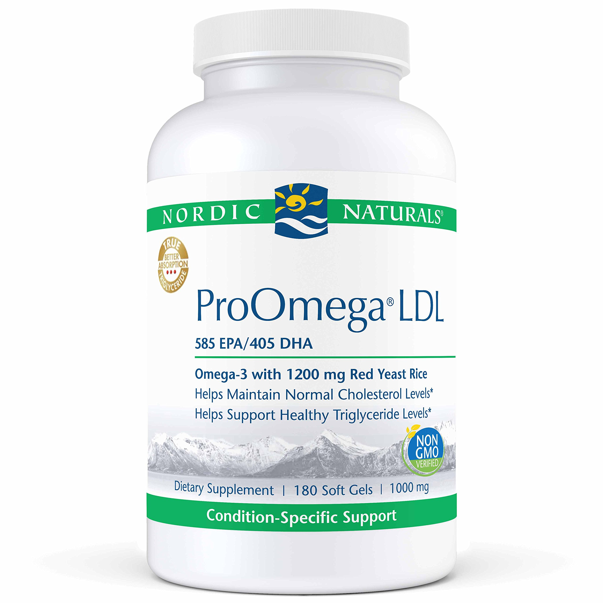 Nordic Naturals ProOmega LDL - Fish Oil, 585 mg EPA, 405 mg DHA, 1200 mg Red Yeast Rice, 30 mg CoQ10 Ubiquinone, Support for Healthy Cholesterol and Triglyceride Levels*, 180 Soft Gels by Nordic Naturals (Image #1)