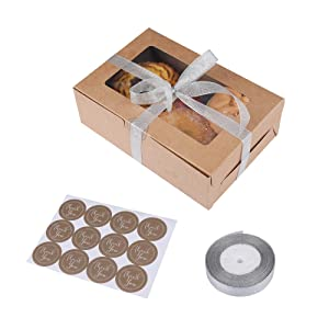 28 Packs Brown Kraft Cupcake Boxes, Food Grade Kraft Bakery Boxes with Inserts and Display Windows Fits 6 Cupcakes or Muffins