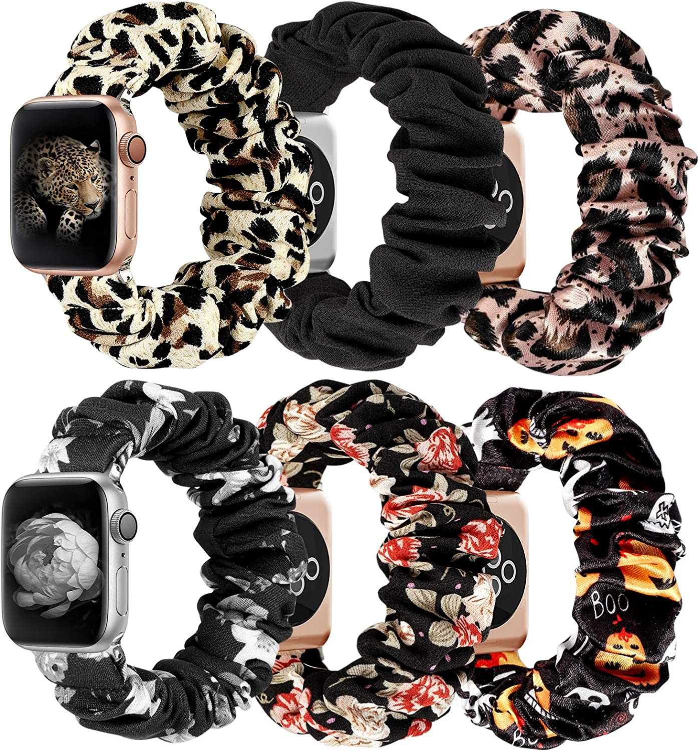 MITERV Compatible with Apple Watch Band 38mm 40mm Soft Floral Fabric Elastic Scrunchies iWatch Bands for Apple Watch Series 6,SE,5,4,3,2,1 6 Pack Small