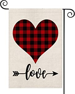 AVOIN Buffalo Plaid Love Heart Garden Flag Vertical Double Sized, Holiday Valentine's Day Anniversary Wedding Birthday Arrow Yard Outdoor Decoration 12.5 x 18 Inch