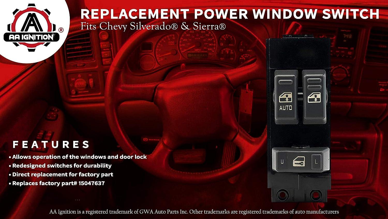 Master Power Window Switch, Gray - Driver Side Door - Fits Chevrolet  Silverado, GMC Sierra 1999, 2000, 2001, 2002-1500, 2500, 2500 HD, 3500 -  Window