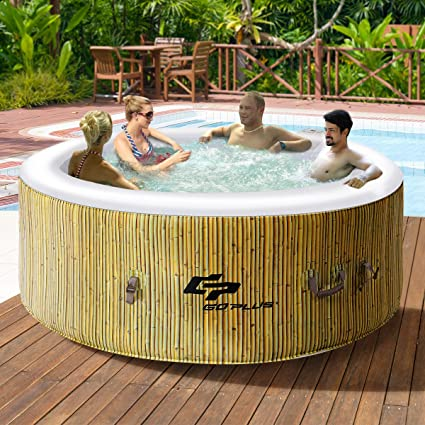Amazon Com Goplus 4 Person Inflatable Hot Tub Outdoor Jets