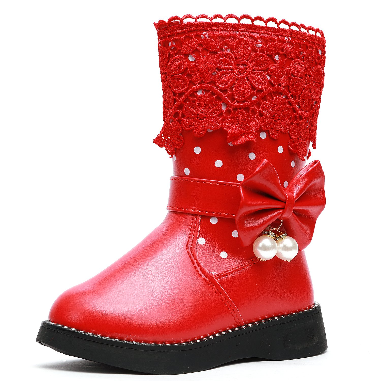 UBELLA Girl's Waterproof Lace Bowknot Side Zipper Fur Lined Winter Snow Boots (Toddler/Little Kid)