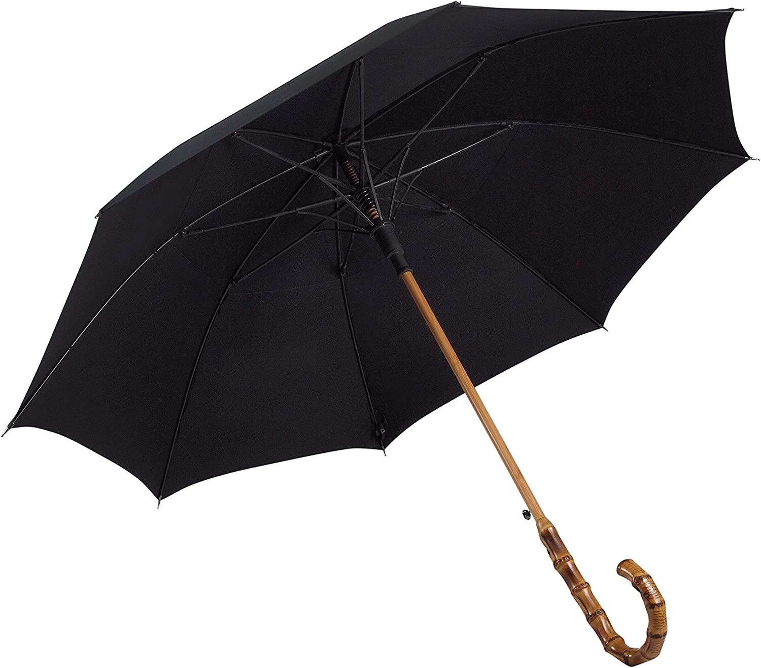 UK Designed—Balios Prestige Walking Stick Umbrella—Bamboo Handle—Double Canopy (Jet Black)