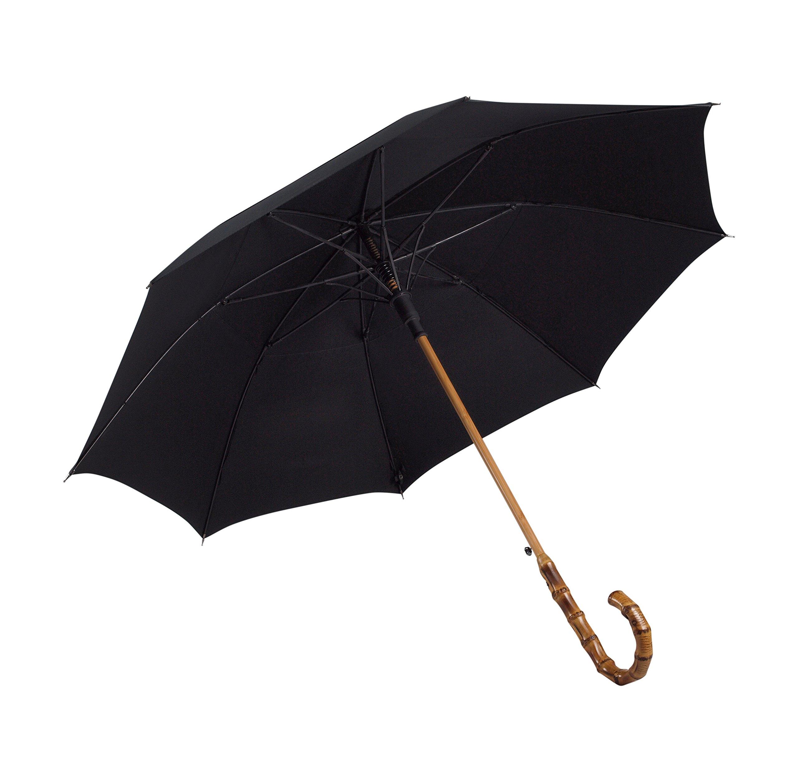 UK Designed-Balios Prestige Walking Stick Umbrella-Bamboo Handle-Double Canopy (Jet Black)