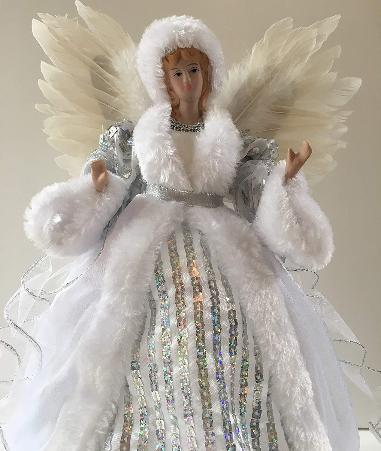 CBC CHRISTMAS ANGEL Silver & White Sci Fi Square Sequins Feather Wings Tree Topper 30cm 12inches Premier