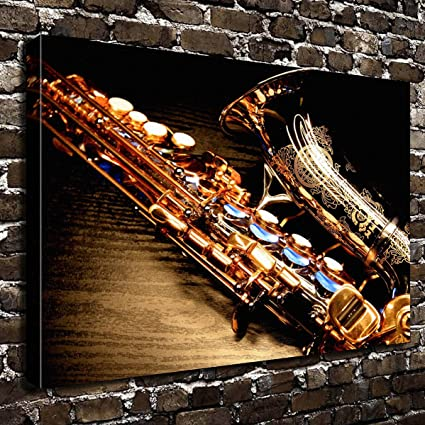 Amazon.com: COLORSFORU Wall Art Painting Saxophone Prints On Canvas ...