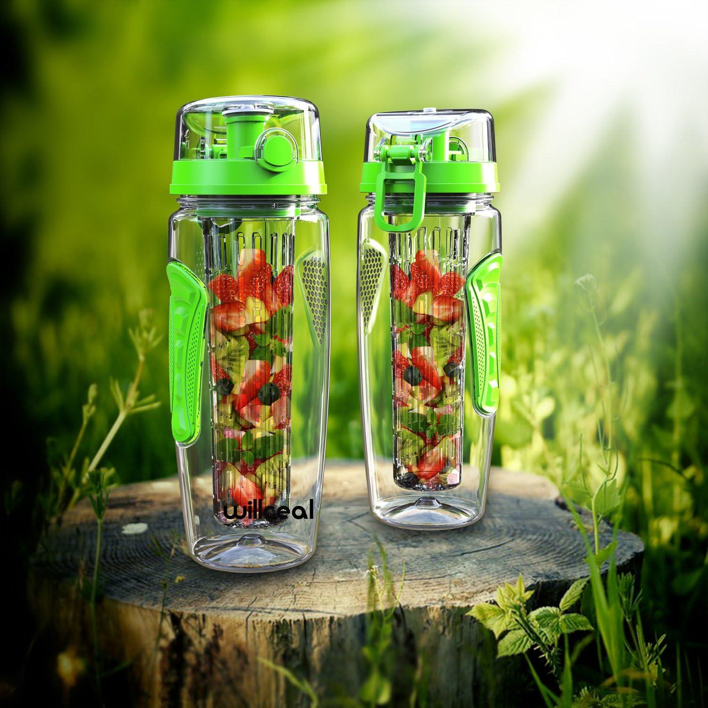couvercle /à rabat Willceal Bouteille deau avec infuseur /à fruits 0,95 l Fabriqu/ée en Tritan sans BPA anti-fuite Convient pour le sports et le camping