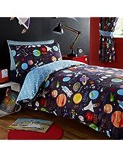 Kidz Club Juego de Funda de edredón de tamaño Individual y Fundas de Almohada para ni&ntilde, diseño de Planetas, Color Azul Oscuro