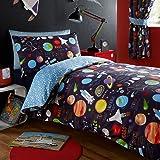 Parure de lit avec housse de couette et taie d'oreiller Kidz Club - Motif espace avec soleil lune et planètes