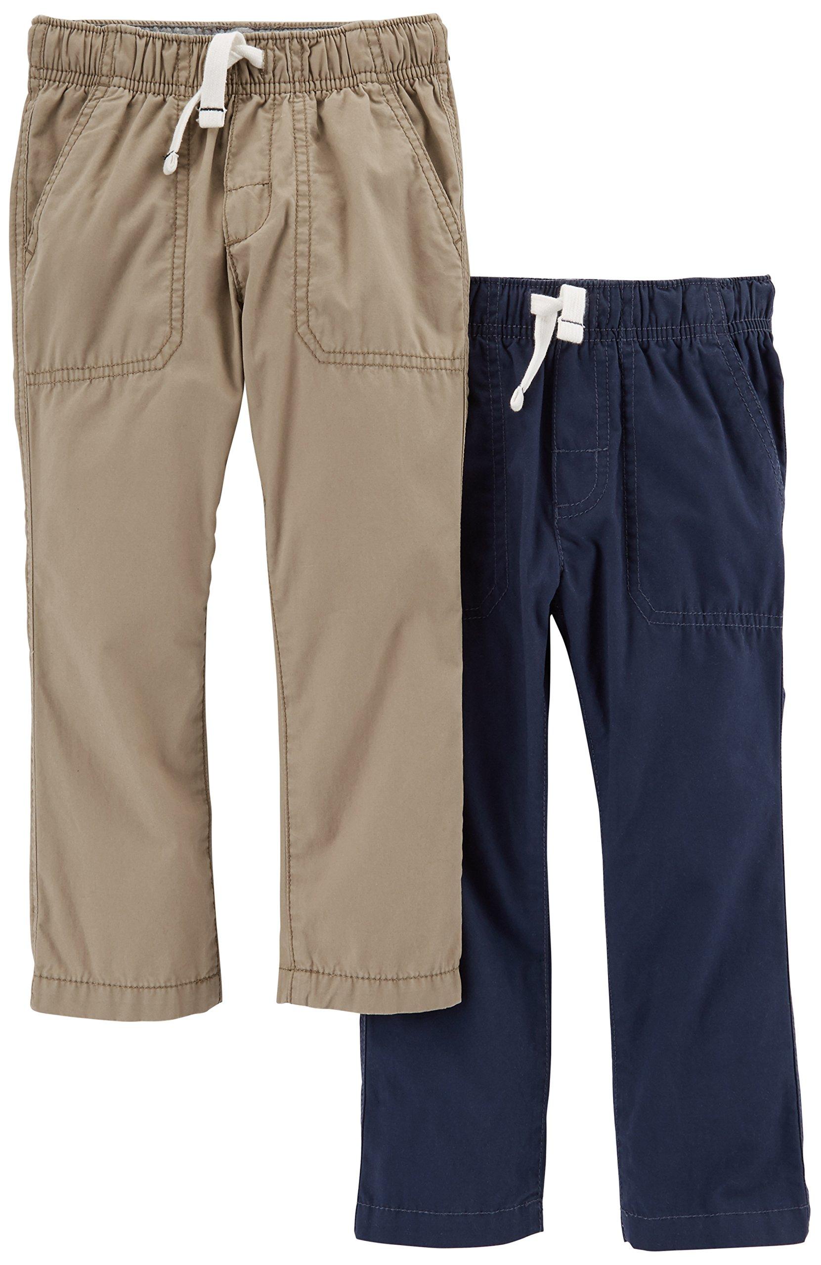 Carter's Big Boys' 2-Pack Woven Pant, Khaki/Navy, 5