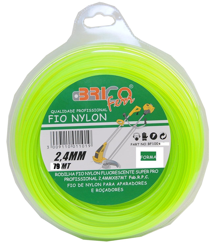 Bricoferr BF1001 Hilo desbrozadora nylon perfil cuadrado (2,4 mm x ...
