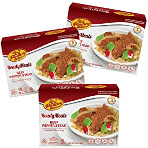 Kosher Mre Meat Meals Ready to Eat, Beef Pepper Steak (3 Pack) - Prepared Entree Fully Cooked, Shelf Stable Microwave Dinner, Deliverd Home – Travel, Military, Camping, Emergency Survival Canned Food