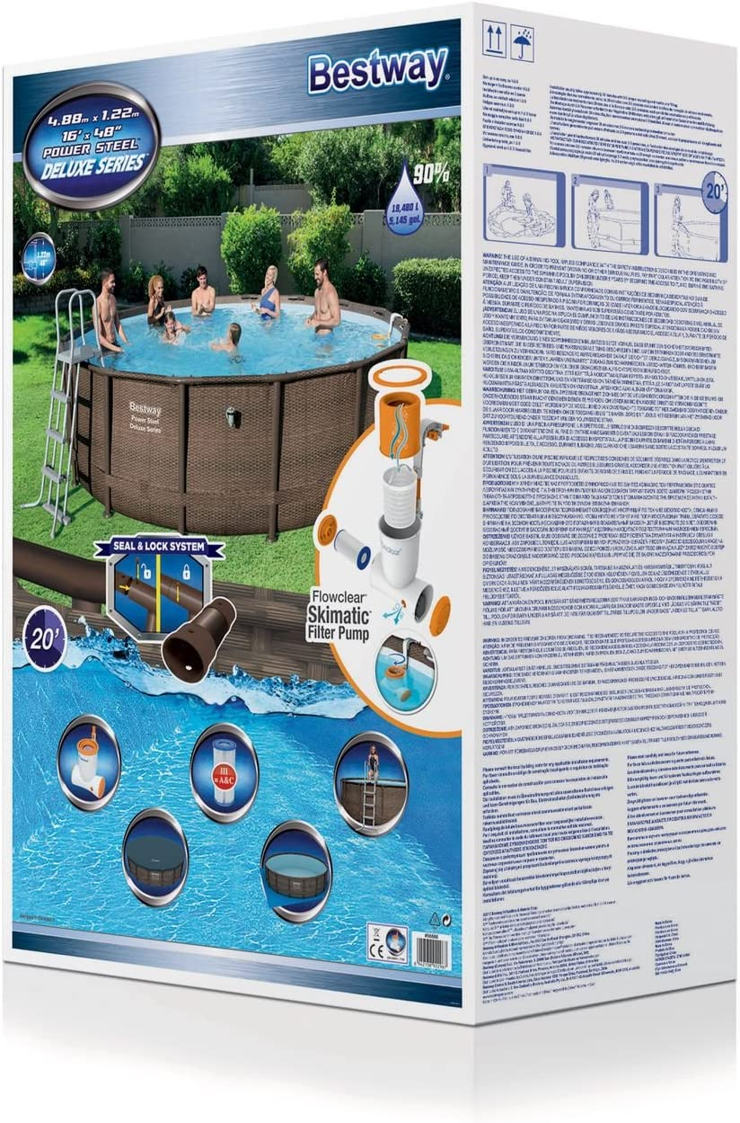 Bestway Power Steel Deluxe Series Pool Set 488 x 122 cm, Marco de ...