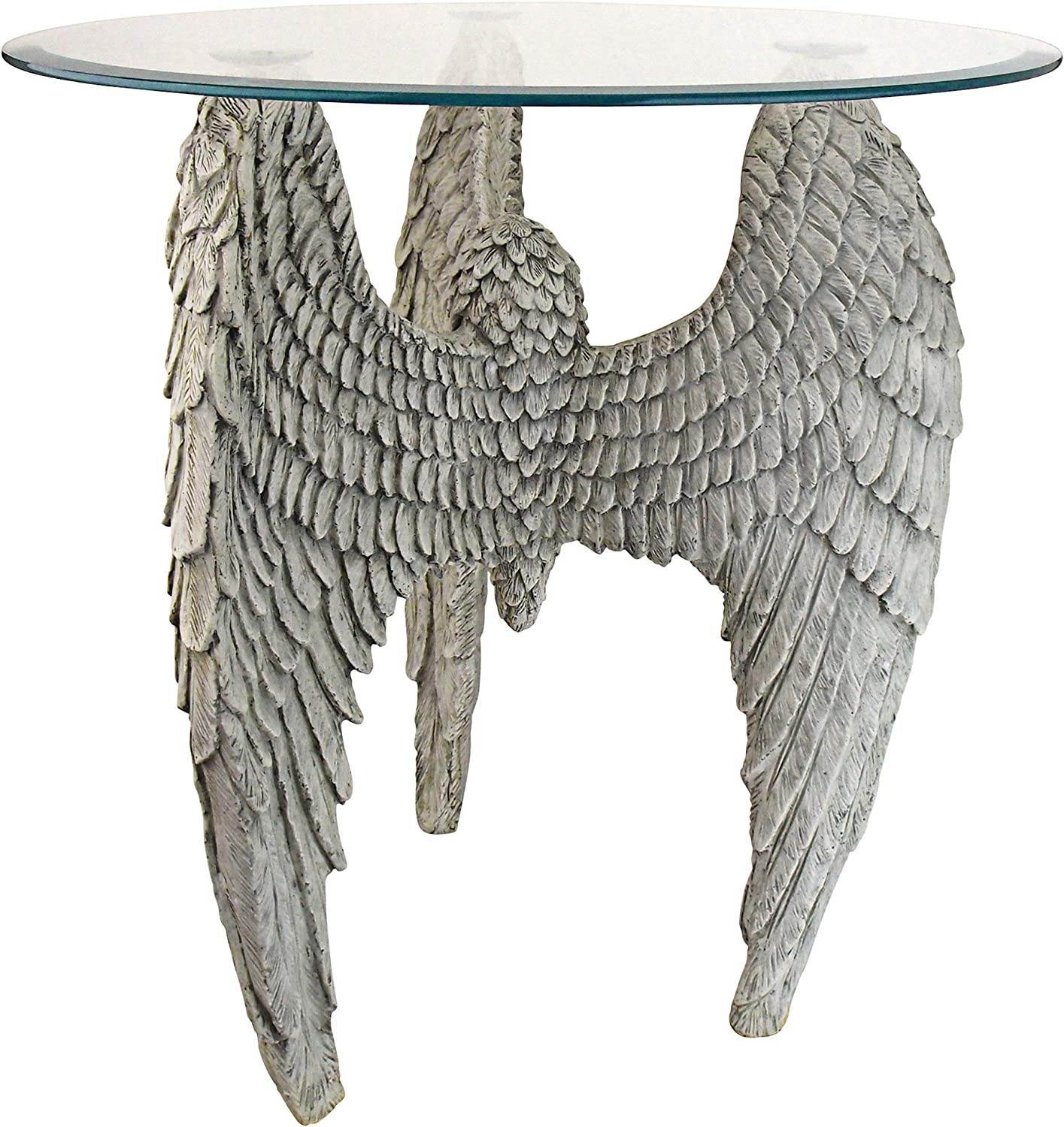 Design Toscano Angel Wings at Our Feet Glass-Topped Sculptural Table by artist Evelyn Myers Hartley, 21.5 Inches, antique stone