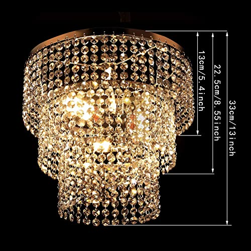 Luxurious K9 Crystal Chandelier with 3 Circle Octagon Shape Crystal Lighting Fixture Pendant Lighting for Dining Room Bathroom Bedroom Living-Room 3 E26 LED Bulbs Transparent Pewter