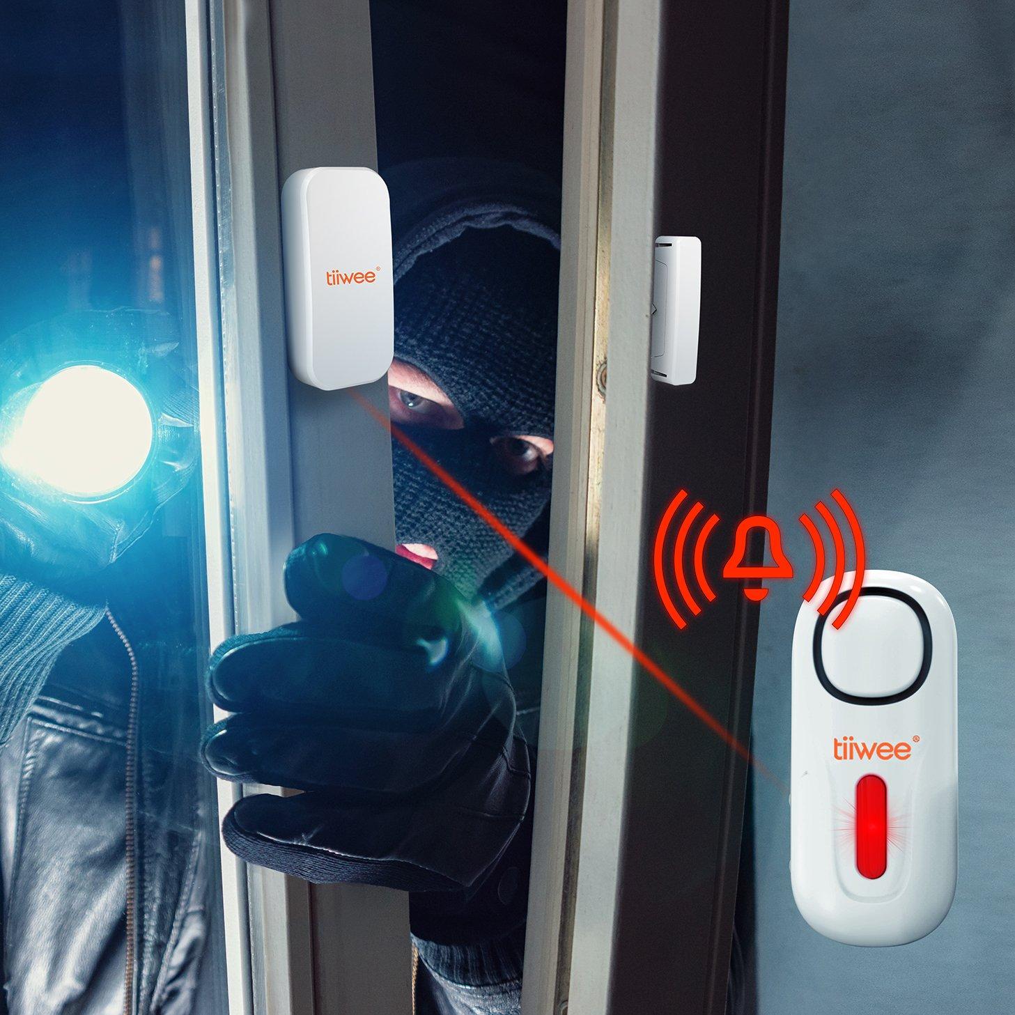 tiiwee Kit de Seguridad - Kit Inicio Alarma de Hogar - Sistema de Alarma antirrobo Inal‡mbrico con Unidad de Sirena - 2 sensores de Puerta de Ventana y Control Remoto
