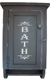 High Quality Distressed Wood Bath Cabinet W/ Towel Bar