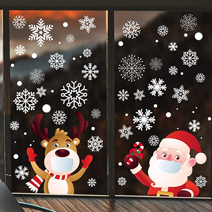 Q/A 240Pcs Christmas Window Clings Stickers - Christmas Decorations Indoor, Faceless Santa Reindeer & Snowflakes Window Clings Decorations, Family Office Winter Wonderland Holiday Decorations