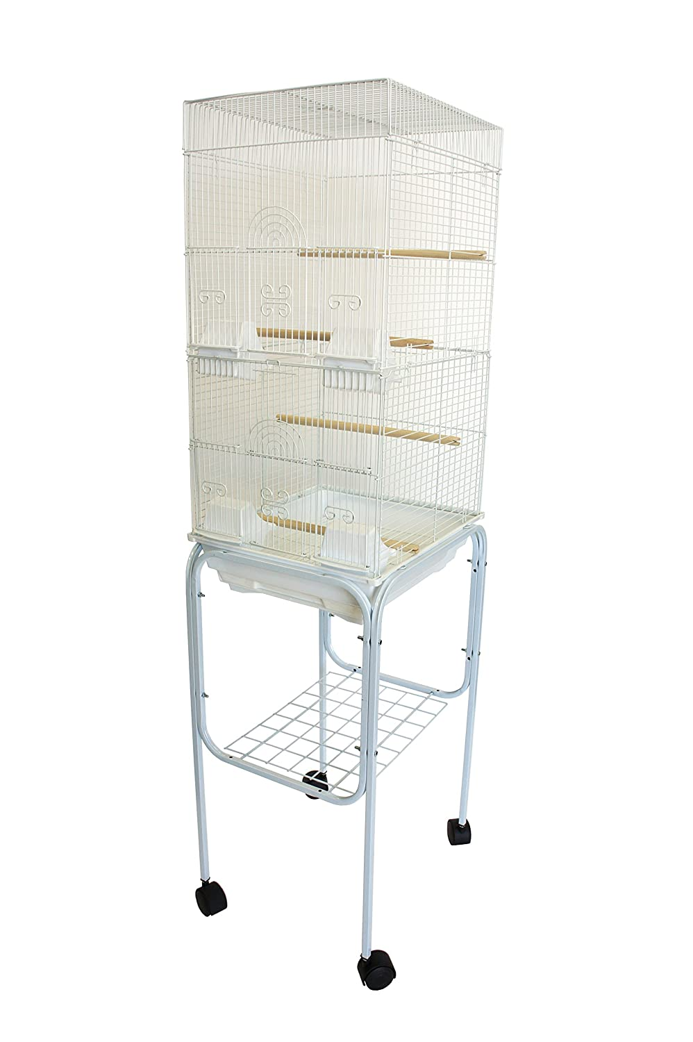 Yml 6624 3/8-Inch Bar Spacing Tall Square 4 Perchs Bird Cage with Stand, White 6624_4614WHT