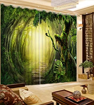Office drapes Red Sproud Modern Hotel Office Wall Decoration Curtain Drapes Fantasy Forest Scenery Living Room Curtains Blackout Window Pottery Barn Amazoncom Sproud Modern Hotel Office Wall Decoration Curtain