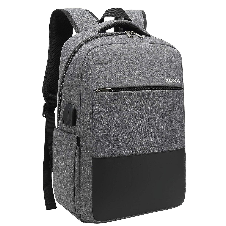 XQXA Mochila Unisex Impermeable para Ordenador Portátil de hasta 15.6 Pulgadas, con Puerto USB, conector para Auriculares y Bolsillo Antirrobo. Para ...