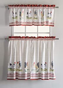 Maison d' Hermine Campagne 100% Cotton Kitchen Curtain Sets - 2 Tiers (28 inch by 36 inch) and 1 Valance (56 Inch by 18 Inch)