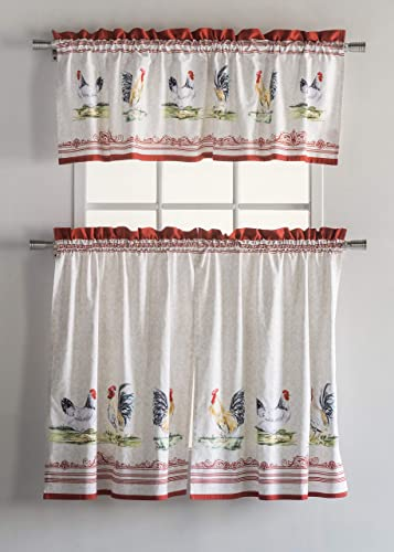 Maison d Hermine Campagne 100 Cotton Set of 3 Kitchen Rod Pocket Window Curtain for Cafe Kitchen Bedroom Home 2 Tiers 28 X36 and 1 Valance 56 X18